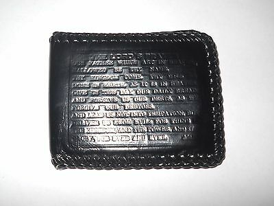 Vintage Mens Hand Tooled Leather Prison Style Wallet Billfold The Lords Prayer