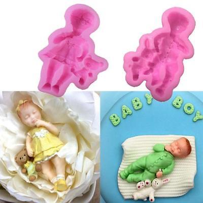 3D Cute Sleeping New Born Baby Silicone Mould Fondant Cake Decorating Moulds JZ