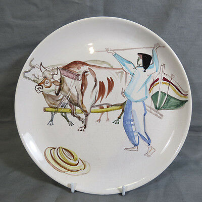Vintage Mid-Century Modern Hand-Painted Ceramic Plate Secla Portugal