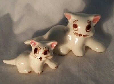 Vintage Pair of Small Ceramic Cat Figurines with Big Eyes and Long Eyelashes