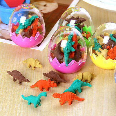 8X New Dinosaurs Egg Pencil Rubber Eraser Students Office Stationery Kid Toy