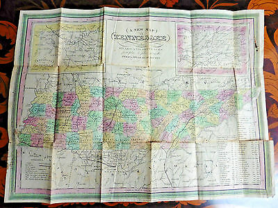 """Antique 1846 """"A New Map of Tennessee"""" by Henry Tanner"""