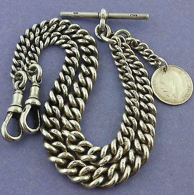 Antique English Hallmarked Solid Silver Double Albert Pocket Watch Chain W Fob