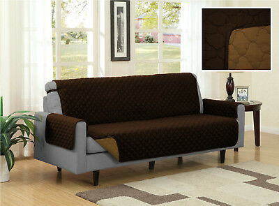 Brown Tan Quilted Reversible Microfiber Pet Dog Couch Sofa Furniture Protector