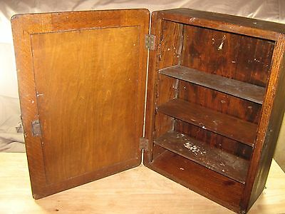 Antique Wooden Medicine Wall Cabinet with Oval Mirror and Shelves