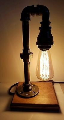 Handcrafted Retro Industrial Pipe Lamp Steampunk style with bulb