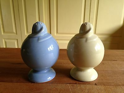 Vintage T.S.&T. Lu-Ray Pastels Salt & Papper Shakers ~Blue & Yellow~Made in USA