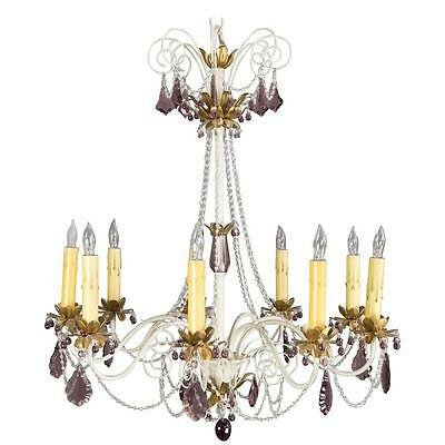 1960's Painted Metal Chandelier With Amethyst Color Glass