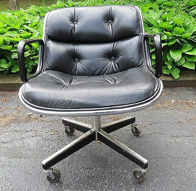 Vintage Mid Century Modern Knoll Pollock Leather Executive Swivel Office Chair