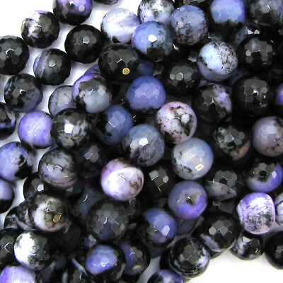 """8mm faceted agate round beads 7.75"""" strand black purple 24 pcs"""