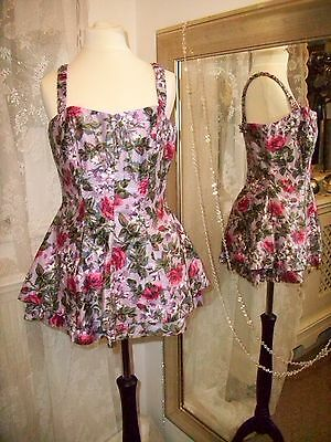 SLIX purple floral swimsuit - Ditsy Vintage Size 10 50s pinup swimming costume