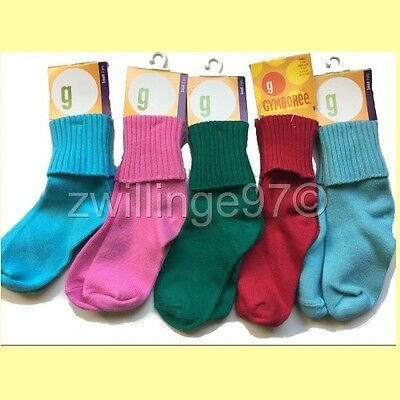 NWT GYMBOREE 5 PAIRS CUFF SOCKS S 2 to 3 yrs, shoe size 7 - 9 US Girls VINTAGE