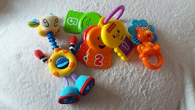 Three New Small Baby Toys , Fisher Price Keys , Lion Rattle And Giraffe Rattle .