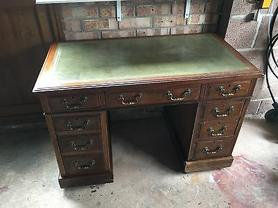 Vintage Antique Green Leather Top Two Pedestal Mahogany Desk