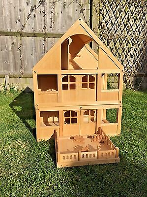 ELC wooden doll's house with extension and patio