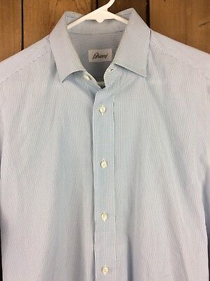 Men's BRIONI Blue Check Long Sleeve Button Down Dress Shirt Size L 15 1/2 Italy