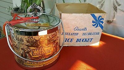 Vintage grants, decorated, insulated ice bucket, old world map