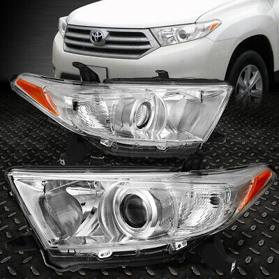 For 2011-2013 Toyota Highlander Chrome Housing Amber Corner Projector Headlight