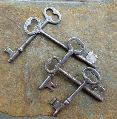 Five  Antique  Mortise Lock Skeleton Keys  Antique & Vintage Mortise  Door Keys