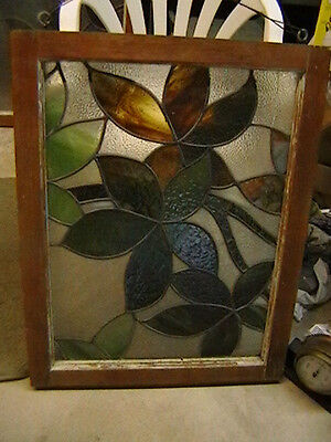 DUR-270 Older Pretty Transom Style English Leaded Stain Glass Window