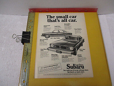 1974 Subaru DL 4 door 2 dr Small Car That's All Car Vintage Print Ad