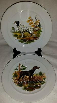 Pair Schumann Bavaria Dog Hunting Cabinet Display Plates