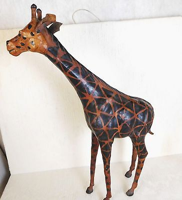 Leather Giraffe African Animal Figurine India Art