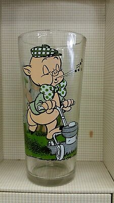 """1976 Pepsi Collector Series Glass Warner Bros Looney Toons  Porky Pig 6"""" Tall"""