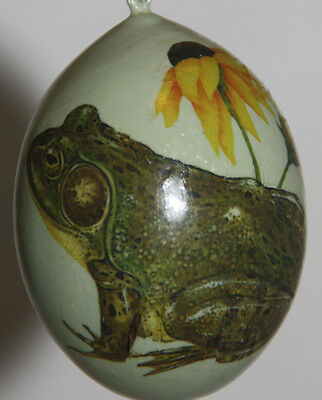 gourd Easter egg, yard art or Christmas ornament with frog, toad