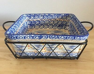 Temp-Tations By Tara Old World Blue Square Presentable Ovenware W/ Server 1.5 Qt