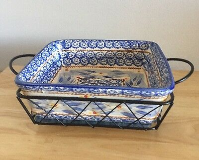 Temp-Tations By Tara Old World Blue Square Presentable Ovenware With Server 2 Qt
