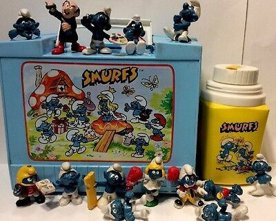 Vintage Smurfs Old Style Lunchbox, Thermos RARE, + Miniatures Applause, Schleigh