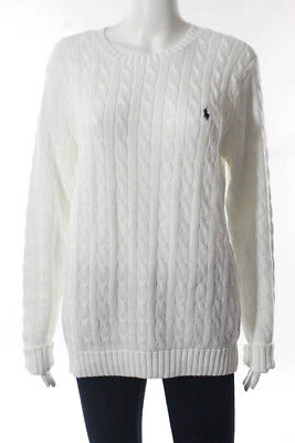 Ralph Lauren White Cotton Cable Knit Crew Neck Sweater Size Extra Large NWT