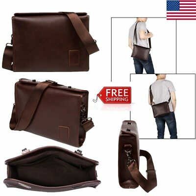Men PU Leather Handbag Business Briefcase Shoulder Bag Messenger Bag Tote Coffee