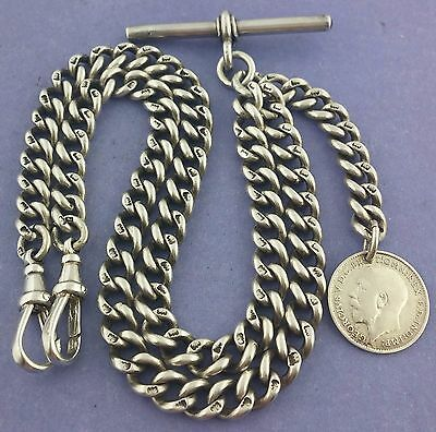 Antique Hallmarked Solid Silver Double Albert Pocket Watch Chain W Fob c1886