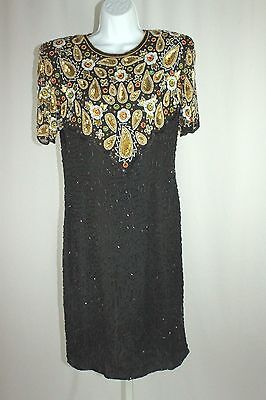 VTG 1980's SZ LG Black Gold Beaded Sequin Silk Trophy Cocktail Evening Dress