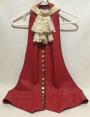 Womans Red LEATHER CORSET Vest Lace Collar Ruffle PIRATE COSPLAY BDSM LARP