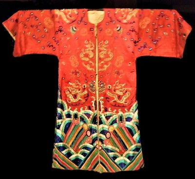 Rare Antique Chinese Silk 9 Red Dragon Robe Embroidered Ching Qing Opera Theater