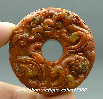 55MM Collect Chinese Natural Jade Hand-carved Ancient Four Beast Pendant Amulet