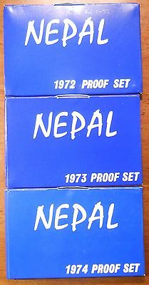 Lot Of 3  Nepal Proof Sets Dated 1972, 1973, 1974
