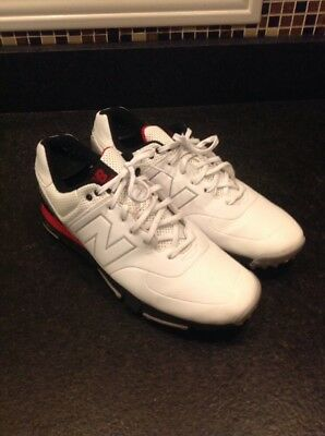 New Balance NBG574 Men's Leather Golf Shoes, Size 11 , White/Black/Red
