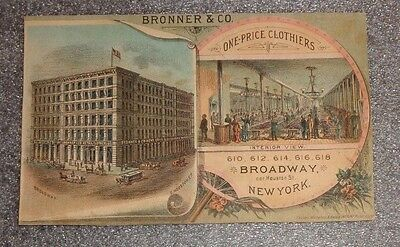 graphic Victorian trade card  advertising Bronner & Co Clothier