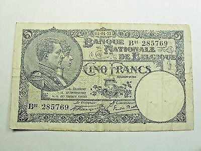 1922 BELGIUM 5 Francs Note - (Pick # 93) - Strong VG/F (P #93)