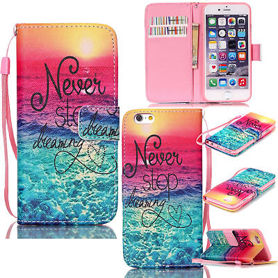 Magnetic Flip Wallet Card Holder Pattern Stand Case Cover For iPhone 6s/ 7 Plus