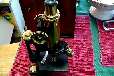 Vintage Bausch and Lomb Microscope Monocular Compound in Box 3 Eyepieces
