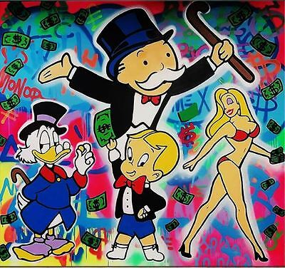 Alec Monopoly Bansky Oil Painting on Canvas Urban art Wall Decor The Gang