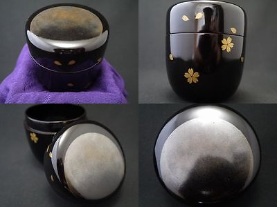 Japanese Vintage Lacquer Wooden Tea Caddy MOON and CHERRY makie Natsume (607)