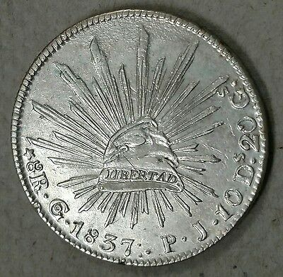 MEXICO 1837 Go PJ 8 Reales Rare 3 Dots After Date :. Scarce Silver Coin!!