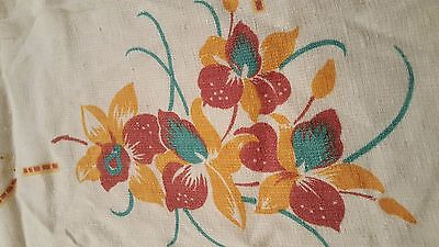 "French print off white metis linen tablecloth 54"" x 66"" vintage"