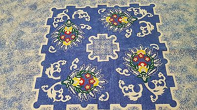 "Shades of blue print tablecloth 51.5"" x 53.5"" Wilton Court vintage"